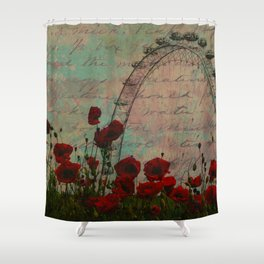 Poppies and Pink Skies Shower Curtain