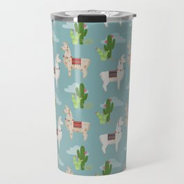 Cute Llamas Illustration Travel Mug