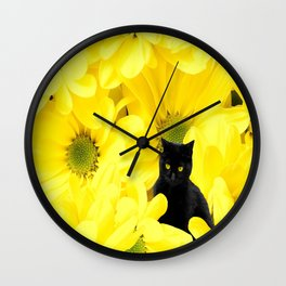 Black Cat Yellow Flowers Spring Mood #decor #society6 #buyart Wall Clock