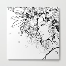 With Flowers in Her Hair No. 5 Metal Print