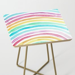 Pastel Watercolour Rainbow art Side Table