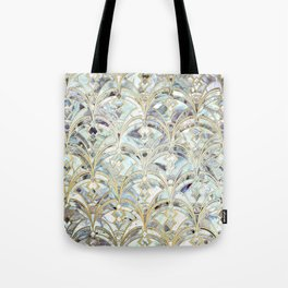 Pale Bright Mint and Sage Art Deco Marbling Tote Bag