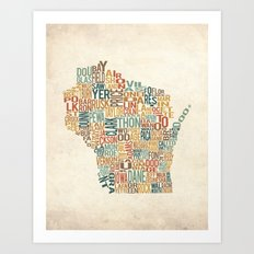 Wisconsin by County Art Print