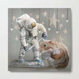 Astronaut Hamster- the Diorama Metal Print