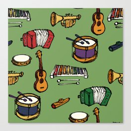 Toy Instruments on Green Canvas Print