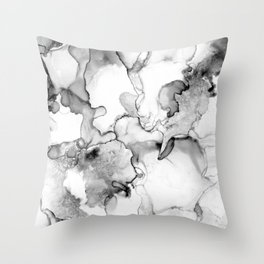 Be That as it Grey- Black and White Abstract Painting Throw Pillow