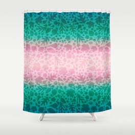 Pastel Pink and Green Fallen Leaves Leaf Pattern 1 Shower Curtain