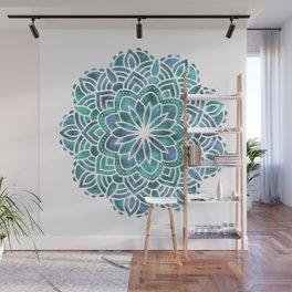 Mandala Succulent Blue Green Wall Mural