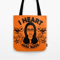 alex vause Tote Bags featuring I heart Alex Vause Orange - OITNB inspired by Vague