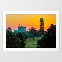The Campanile Tower on Mt. Oread Over Kaw Valley at Sunrise - Kansas University Art Print