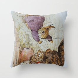 Bunny vs Kitty Throw Pillow