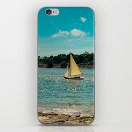 Boat old sand beach postcard iPhone Skin