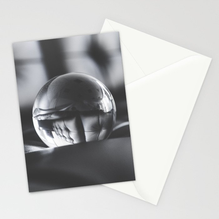 Big Glass Crystal Ball on Black Leather Sofa Stationery Cards
