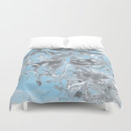 Cyan and grey Marble texture acrylic Liquid paint art Duvet Cover