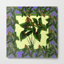 Decorative Lilac & Cream Tropical Botanical Green Foliage Metal Print