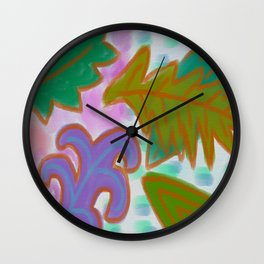 Leaves Abstract Digital Painting Wall Clock