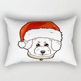 Bichon Frise Dog Christmas Hat Present Rectangular Pillow