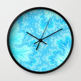 Abstract Christmas Aqua Blue Branches. Cute nature pattern Wall Clock