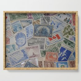 Canadian Pride Vintage Postage Stamp Collection From Canada Serving Tray