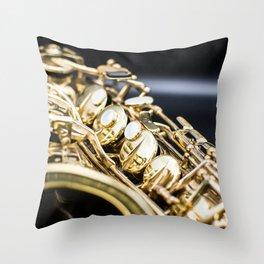 Alto saxophone black background Throw Pillow