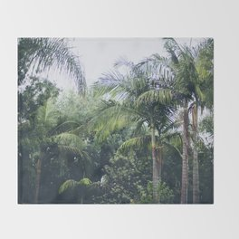 Palm Trees in a Tropical Garden Throw Blanket