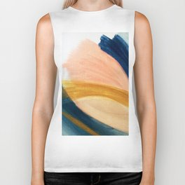 Slow as the Mississippi - Acrylic abstract with pink, blue, and brown Biker Tank