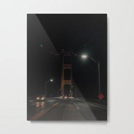 The Mackinac Bridge at Night Metal Print