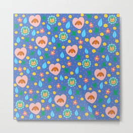 Flowery Dog and Cat Metal Print