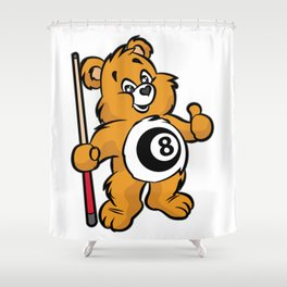 BILLIARD TEDDY Snooker Pool Billiards Cue Shower Curtain
