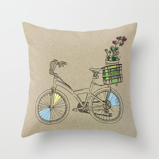 Bicycle Print Throw Pillow : Bicycle Throw Pillow by Madmi Society6