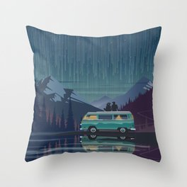 Retro Camping under the stars Throw Pillow