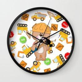 Construction Bear Hammer Wall Clock
