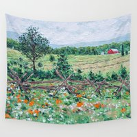 farm Wall Tapestries featuring Gettysburg Farm by Ann Marie Coolick
