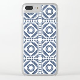 Mediterranean Tile Blue and White Clear iPhone Case