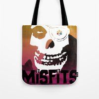 misfits Tote Bags featuring Misfits always say die... by Geekleetist