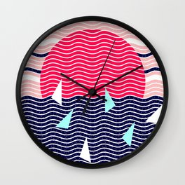 Hello Ocean Sunset Waves Wall Clock