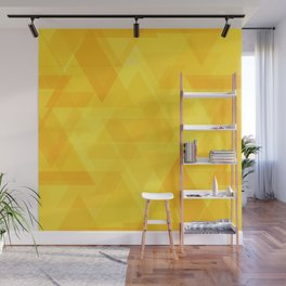 Bright yellow triangles in intersection and overlay. Wall Mural