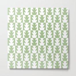 Art Deco Jagged Edge Pattern Sage Green Metal Print