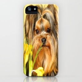 Spring Yellow Crocuses With Yorkie Puppy #decor #society6 iPhone Case