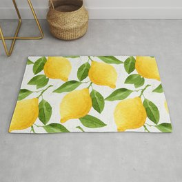 Watercolor Lemons Rug