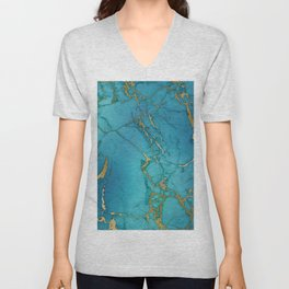 Blue and gold marble stone print Unisex V-Neck