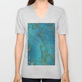Blue and gold marble stone print Unisex V-Neck