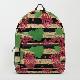 Geometric red green black gold glitter grapes fruit Backpack