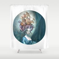 marie antoinette Shower Curtains featuring Marie Antoinette by Iris Compiet
