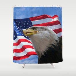 American Flag and Bald Eagle Shower Curtain