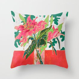 Tropical Lily Bouquet with Matisse Cutout Inspired Background Floral Still Life Painting Throw Pillow