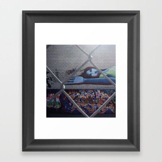 thru the chain-link Framed Art Print