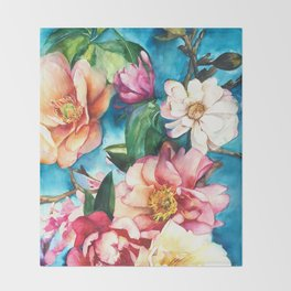 Tropical Floral I Throw Blanket