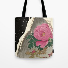 Bird and Peony Japanese Woodcut Tote Bag