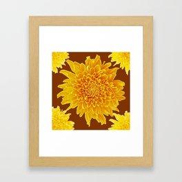 Coffee Brown Color Golden Yellow Chrysanthemums Framed Art Print